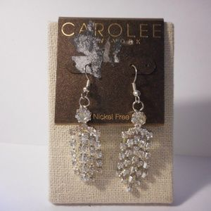 Carolee Rhinestone Dangle Pierced Earrings